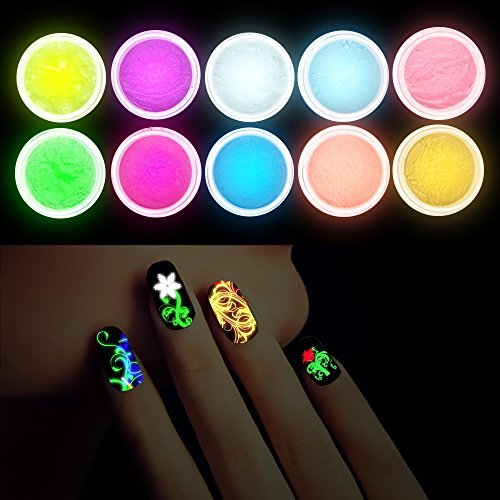 Anself 10Pcs UV Gel Nail Polish Nail Tip Art Glitter Powder Dust Luminous Fluorescent Sands, Glow In The Dark
