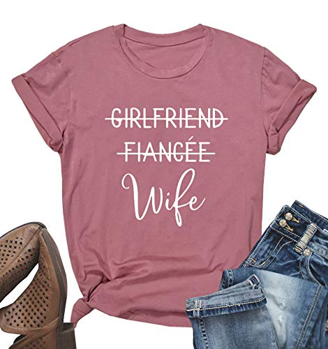 4b31aedb3 MOMOER Girlfriend Fiancee Wife Shirt Women Cute Engagement Gift for Bride  Honeymoon Vacation Tops Tee Pink