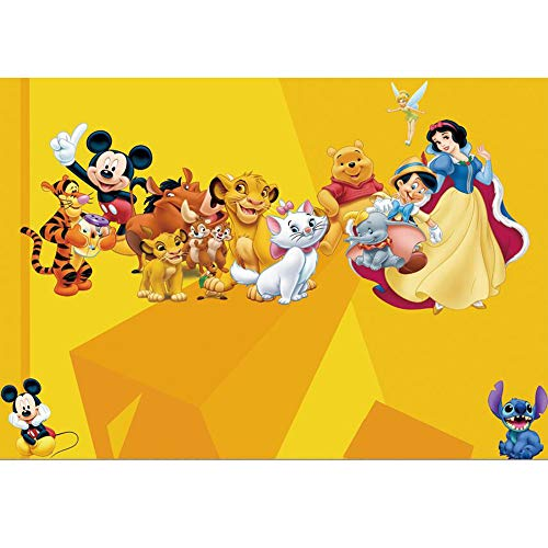 7x5ft Disney Character Backdrops for Photography Newborn Baby Vinyl Photo Studio Background Cartoon Wonderland Backdrops for Birthday Seamless Photo Studio Backdrop Baby Shower Props ()