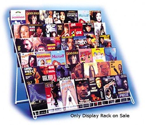 (White Finish Cd/DVD Magazine Gauge Wire Vidlit Counter Rack 23.5