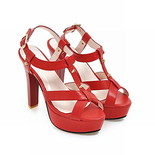 Sandali Con Tacco Partito Carolbar Donna Moda Fibbia Partito Rosso Sandali