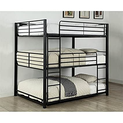 Amazon Com Furniture Of America Botany Modern Full Triple Bunk Bed