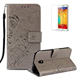 Funyye Strap Magnetic Flip Cover for Samsung Galaxy J7 2018,Elegant Premium Gray Flower Printed Folio Wallet Case with Stand Credit Card Holder Slots Case for Samsung Galaxy J7 2018,Shockproof Non Slip Full Body PU Leather Protection Cover for Samsung Galaxy J7 2018 + 1 x Free Screen Protector