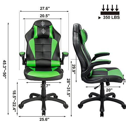 Blue Sword Racing Gaming Chair High Back Ergonomic Swivel Computer Office  Chair With Flip Up Armrest, Green