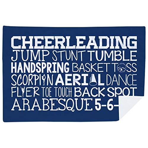 ChalkTalkSPORTS Cheerleading Premium Blanket | Cheer Words | Navy ()