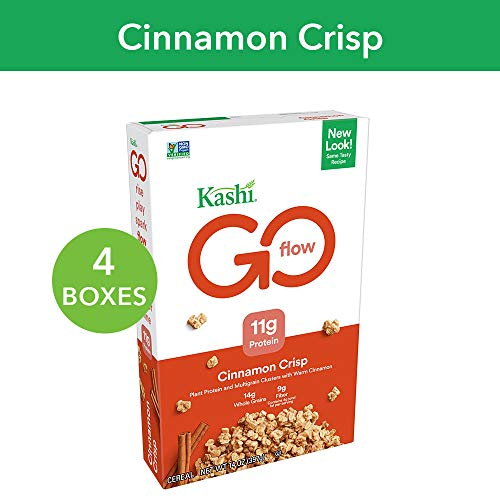 Kashi GO Cinnamon Crisp Breakfast Cereal - Non-GMO | Vegan | 14 Oz Box (Pack of 4 -