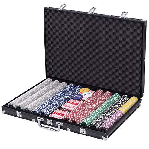AyaMastro Set of 1000 Pcs Poker Chip w/Black Aluminum Case & Tablecloth with Ebook