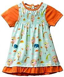Origany Little Girls' Tropical Jungle Smocked Top w/ Ruffled Hem 6Y Blue