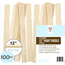 """Wooden Paint Paddle Stir Sticks 12"""" Bulk of 100pc, For Mixing Paint & other liquids, Use for Art project & Home Improvement, Garden, Library Marker & Kids Activity DIY Wood Craft Sticks (Pack of 100)"""