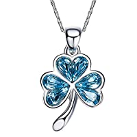 SILYHEART S925 Sterling Silver Lucky Clover Heart Shaped Women Crystal Pendant Necklace Jewelry Gifts