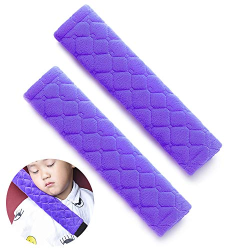 Fly Replacement Pads (Car Seat Belt Pads Cover, 2 Pack Seat Belt Shoulder Strap Covers Protector to Release Stress to Your Neck and Shoulder for a Safety Driving (Purple))