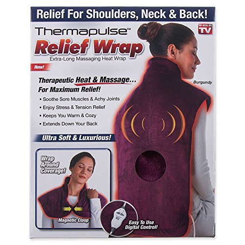 New! Thermapulse Relief Wrap In Burgundy Extra-Long Massaging Heat Wrap Relief Heat Wraps