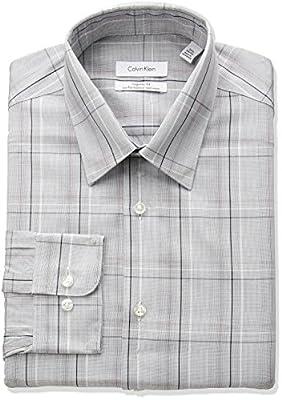Calvin Klein Men's Non Iron Regular Fit Exploded Plaid Point Collar Dress Shirt