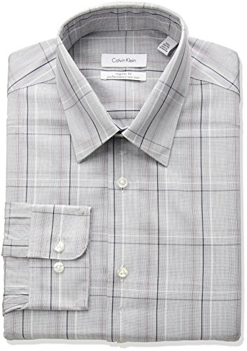 "Calvin Klein Men's Non Iron Regular Fit Exploded Plaid Point Collar Dress Shirt, Red/Multi, 15"" Neck 32""-33"" Sleeve"
