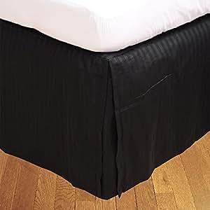 500TC Georgeous 1Box Bundfaltenhose Bettvolant Streifen (Drop Länge: 45,7cm), baumwolle, Black Stripe, UK Single Long