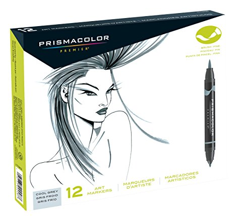 Prismacolor 1773299 Premier Double-Ended Art Markers, Fine and Brush Tip, Cool Grey, 12-Count