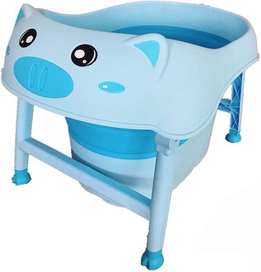 バスタブ 0〜8歳の子供用浴槽 ベビー折りたたみプール 子供用の洗面台 世帯 保存が簡単 74X47X54CM GYF (Color : Blue)