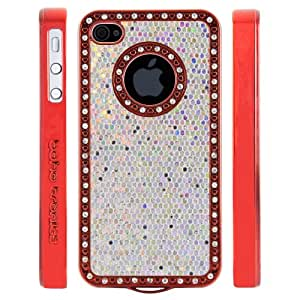 Boho Tronics TM Custom Luxury Bling Logo Case with Glitter Shimmer Inlay - Compatible with Apple iPhone 4 4S - Red With Silver Rhinestones with White Insert