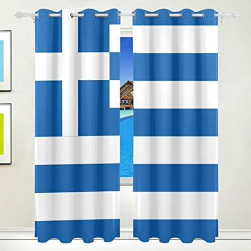 Home Care Ethel Ernest Flag Of Greek Window Blackout Curtains