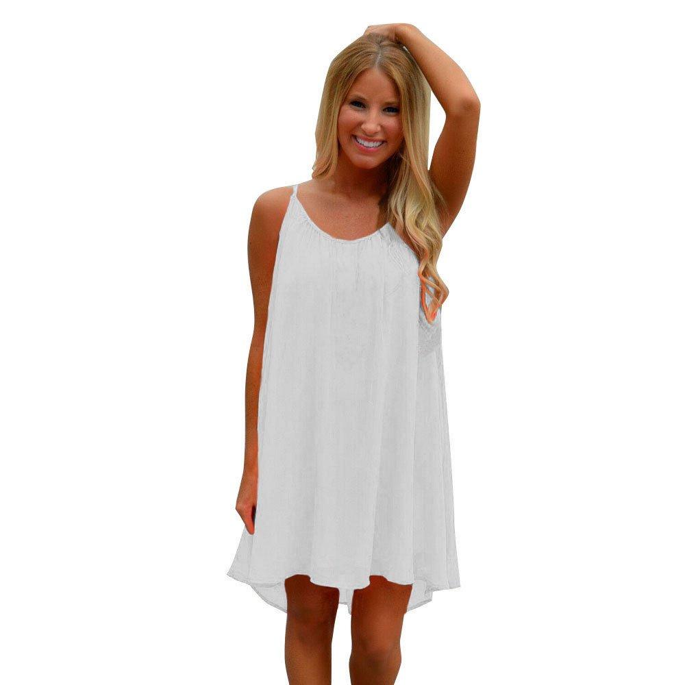 Meigeanfang Women's Fashion Soild Sling Summer Casual Chiffon Loose Mini Dress (White, S)