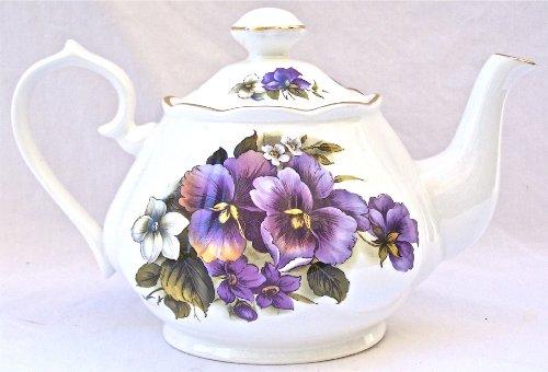 Fine English Bone China Teapot - Pansy Chintz