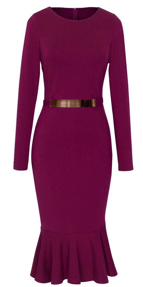 HOMEYEE Women's Business Peplum Dress B242 (L, Carmine)