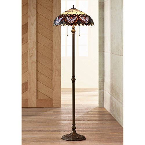 Traditional Floor Lamp Bronze Heart Leaf Pattern Stained Glass Shade for Living Room Reading Bedroom Office - Robert Louis Tiffany