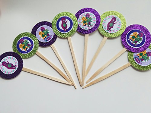 8 Barney PURPLE GREEN Dinosaur Cupcake Toppers Picks Birthday Party