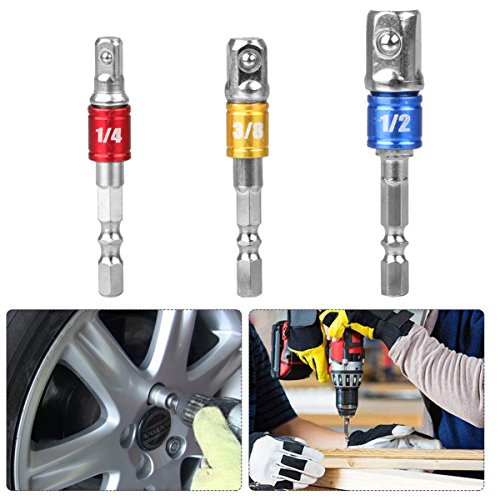 3Pcs 1/4 3/8 1/2 Hex Shank Bit Square Nut Driver Set Power Drill Cordless Impact Sockets Bit Set Adapter, Socket Wrench Set Ratchet Extension,Power Hand Tools, Drill Bits Set,Impact Driver Bit Set -