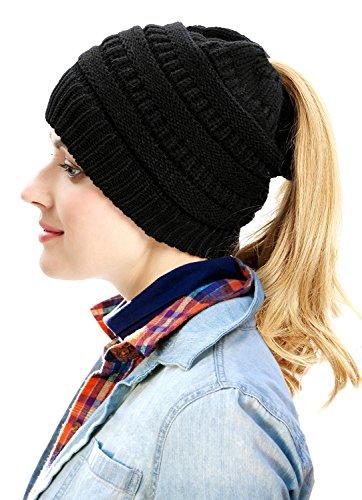 FADA Women Black BeanieTail Soft Stretch Cable Knit Messy High Bun Ponytail Beanie Hat (Friend Knit Hat)