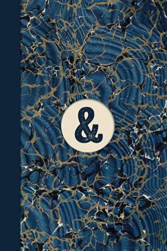 Monogram Symbol Ampersand Memo Marble Notebook (Blue Ginger Edition): Blank Lined Journal for Creative Writing, Poetry, Reminders, To Do Lists, ... Habit Tracking, and Motivational Notes