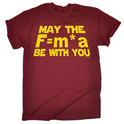 Red Vintage T-shirt (MAY THE F=M*A BE WITH YOU - NEWTONS FORCE LAW (S - MAROON) NEW PREMIUM LOOSE FIT BAGGY T-SHIRT - slogan funny clothing joke novelty vintage retro t shirt top)