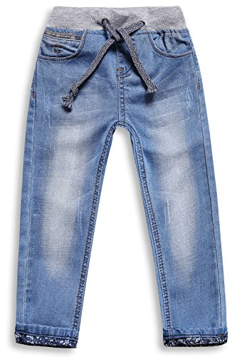 Little-Guest Little Boys' Jeans Kids Clothes Drawstring Waistband Denim Pants B117 (5 Years, Light Blue)