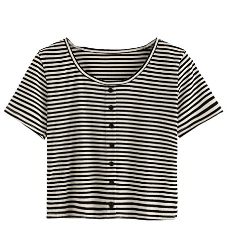 White Striped Shirt Top (Verdusa Women's Short Sleeve Striped Casual T-shirt Crop Top with Buttons Black White L)