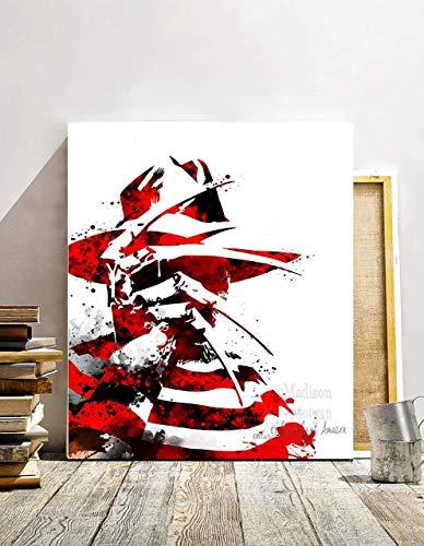 Horror Movie Poster Freddy Krueger Print, watercolor digital painting, Movie art, Bedroom Wall Art, horror movie art print, 11 X 14 inches - Unframed -