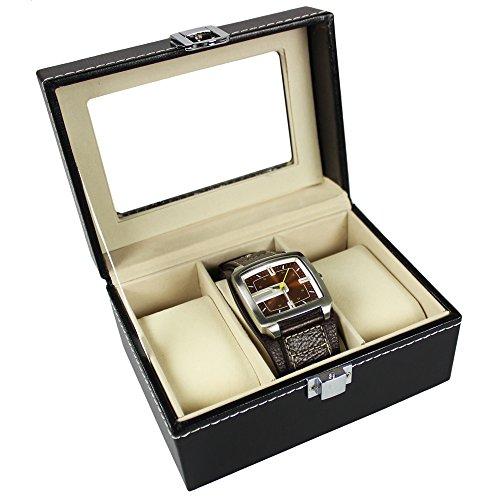 com four uhrenbox lederoptik f r armbanduhren. Black Bedroom Furniture Sets. Home Design Ideas