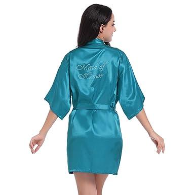 BOYANN Dama de Honor Cristal Ropa de Dormir Sexy Batas y Kimonos de Satén, Azul Eléctrico M: Amazon.es: Ropa y accesorios