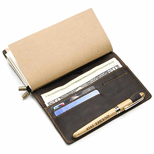 DUEBEL Refillable Handmade Vintage Leather Diary Notebook Travel Journal with 4 card slot + ID Window + Bill + Phone Compartment + Pen Holder + 3 Papers Notes Sketching Drawing from DUEBEL