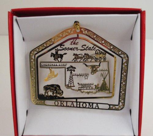 Oklahoma Sooner State Brass Christmas ORNAMENT Souvenir Gift