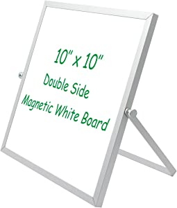 "10""x10"" Magnetic Dry Erase Whiteboard, Desktop Mini White Board,Small Tabletop Easel Board, Portable Dual-Sided Whiteboard Easel for Kid,Office,Home,School,360°Rotation with Stand"