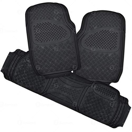 Zone Tech 3 Piece Black Universal Fit Premium Quality Full Rubber-All Weather Heavy Duty Vehicle Floor Mats
