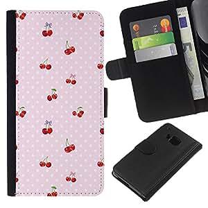 Planetar® Modelo colorido cuero carpeta tirón caso cubierta piel Holster Funda protección HTC One M9 ( Cherry Polka Dot Berries Pink Pattern )