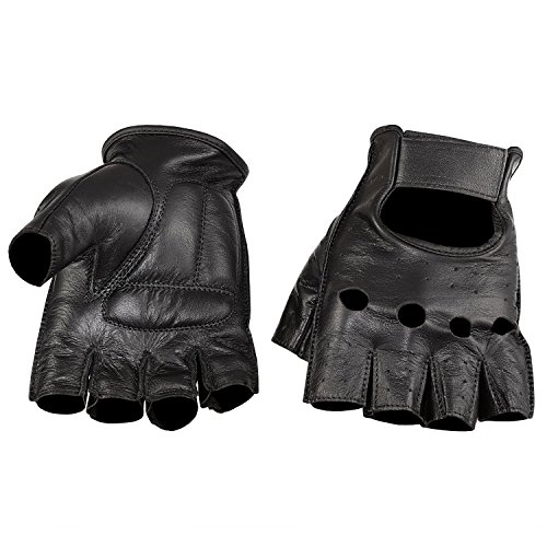 Viking Cycle Men's Premium Leather Half Finger Touch Screen Motorcycle Gloves (X-Large, Black)