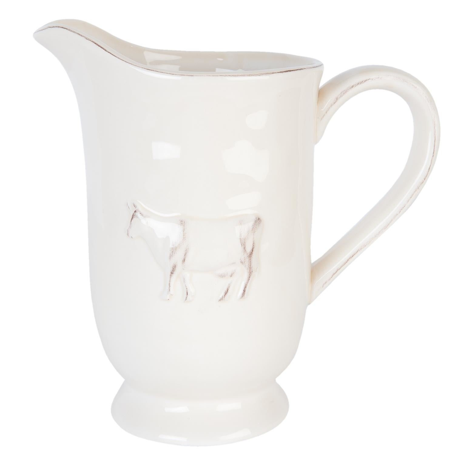 LUXURY NORDIC COW LARGE WATER PITCHER MILK JUG GLAZE CREAM LATTE Kitchen Unique