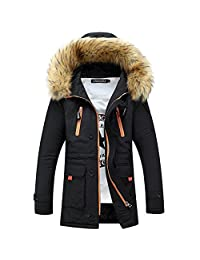 VirgoL Men's Winter Quilted Puffer Jacket Hooded Fur Coat Down Parka Jackets