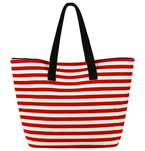 Durable Canvas Shoulder Handbag for Travel, Beach Holidays, Classic Beach Bag with Zippered Pocket Inside and Leather Bottom, Red