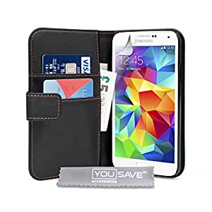 Yousave Accessories Samsung Galaxy S5 Case Black PU Leather Wallet Cover