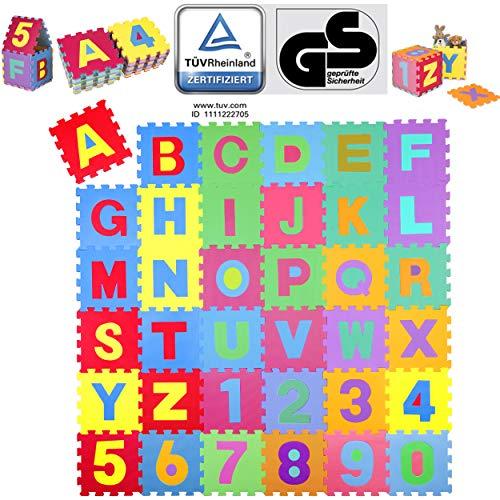 KIDUKU® 86-delige puzzelmat kinderspeelkleed speelmat speeltapijt schuimmat kinderkleed, cijfers en hoofdletters…