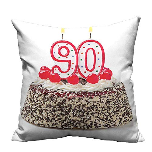 YouXianHome Lovely Cushion Covers Birthday Cake with Cherries Burning Candles Number Ninety Red Brown White Resists Stains(Double-Sided Printing) 35x35 inch Cherry Blossom Cake Candle