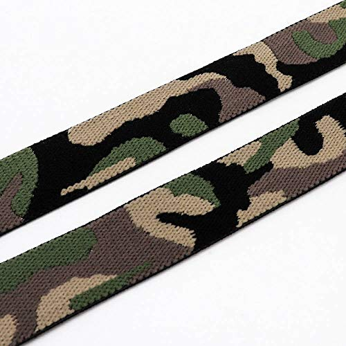 (2Yards 25mm Camouflage Elastic Ribbon Fabric Rope DIY Packing Belt Clothing Bags Trousers Headwear Sewing Accessories (Style)